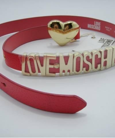 Ремень Moschino с сердцем розовый