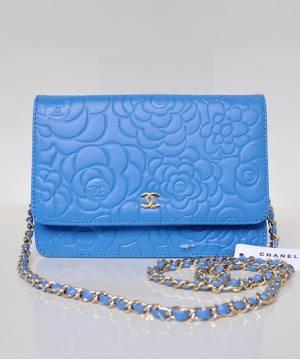 Клатч Шанель WOC Camellia голубой