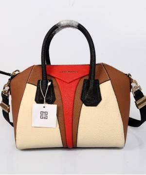 Сумка Givenchy Antigona бежевая с коричневыми вставками