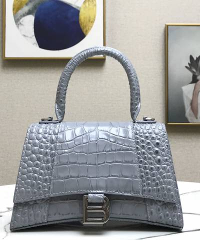 Сумка Balenciaga Hourglass Top Handle Bag Grey Crocodile