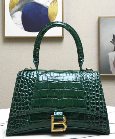 Сумка Balensiaga Hourglass Top Handle Bag Dark Green Crocodile