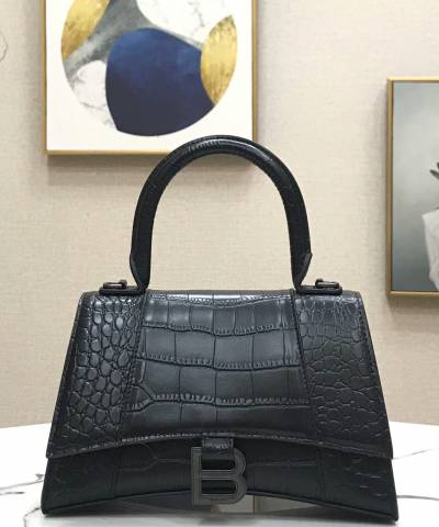Сумка Balenciaga Hourglass Top Handle Bag Black Crocodile