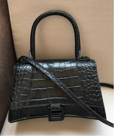 Сумка Balenciaga Hourglass Small Top Handle Bag Black Croc
