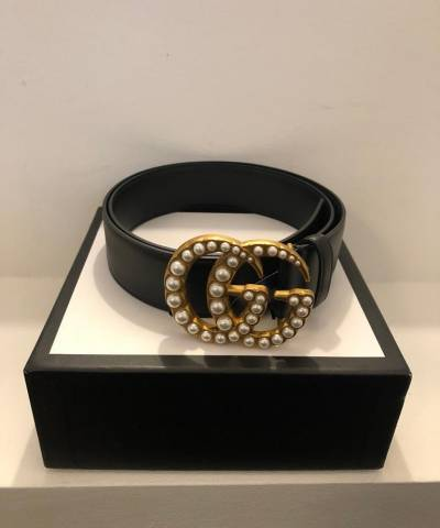 Ремень Gucci Leather Belt with Pearl Double G Buckle