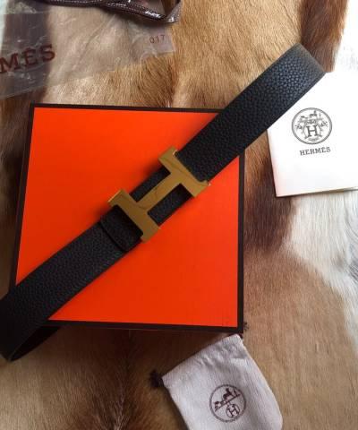 Кожаный классический ремень Hermes черного цвета