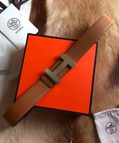 Двусторонний кожаный ремень Hermes Brown