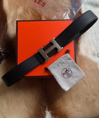 Двусторонний кожаный ремень Hermes Black