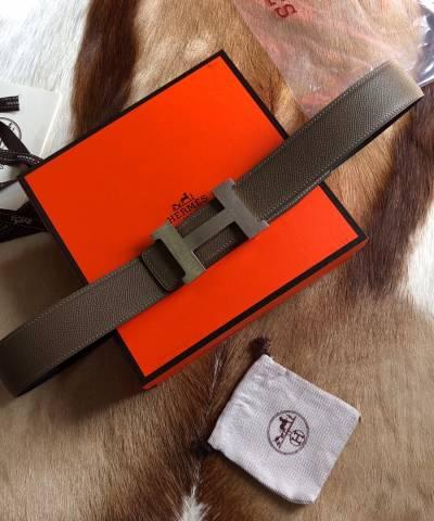 Кожаный ремень Hermes Khaki