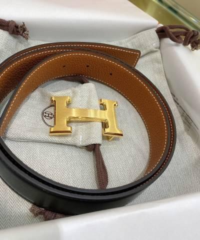 Кожаный ремень Hermes Brown