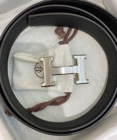 Кожаный ремень Hermes Black Leather Palladium Hardware H Logo