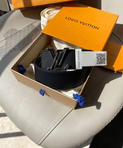 Ремень Louis Vuitton Black Leather LV Initiales Belt