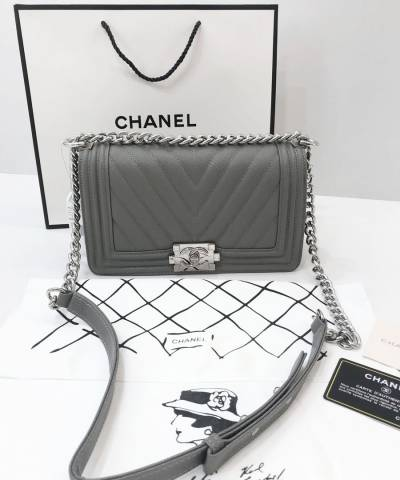 Сумка Сhan*l Boy Chevron Grey Bag
