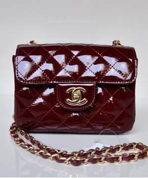 Сумка лаковая Шанель Mini Flap Burgundy