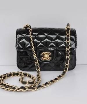 Сумка лаковая Шанель Mini Flap Black