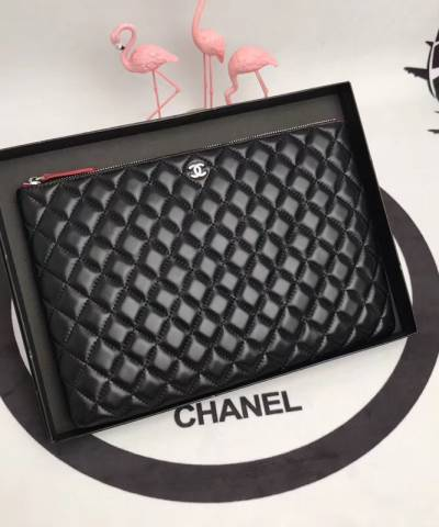 Клатч Ch*nel Large Black Lambskin O Case