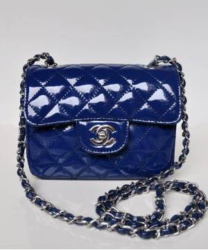 Сумка лаковая Шанель Mini Flap Blue