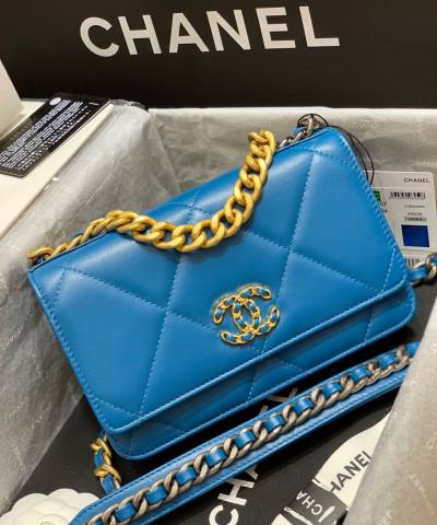 Клатч Сhan*l 19 Wallet on Chain Bag Blue