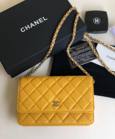 Сумка Ch*nel WOC Wallet On Chain Caviar Yellow