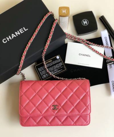 Сумка Ch*nel WOC Wallet On Chain Caviar Coral Pink