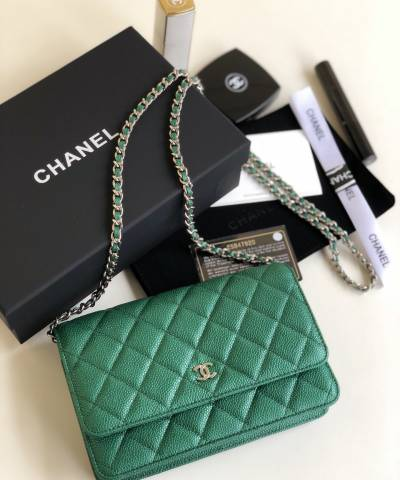 Сумка Ch*nel WOC Wallet On Chain Caviar Green