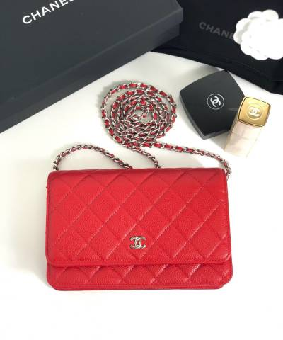 Сумка Ch*nel WOC Wallet On Chain Caviar Red