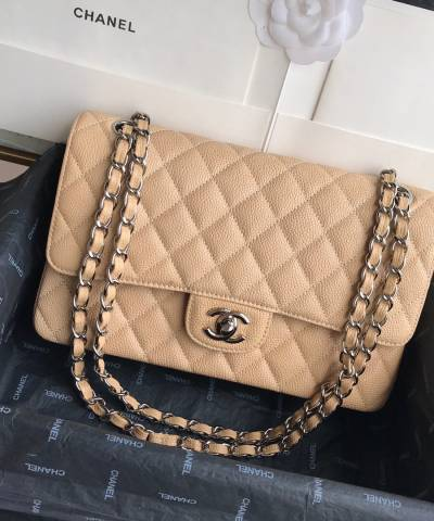 Сумка Classic Flap Bag Caviar Medium Beige