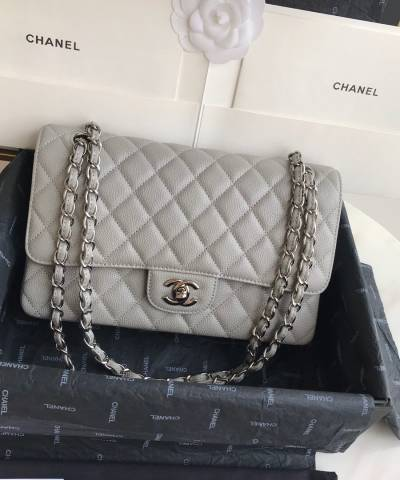 Сумка Classic Flap Bag Caviar Medium Grey