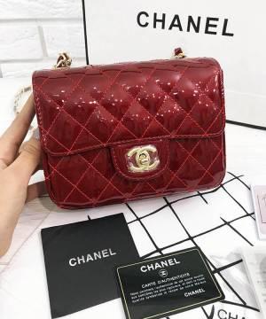 Сумка лаковая Шанель Mini Flap Red