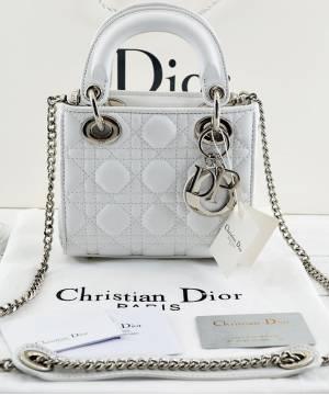 Сумка Lady Dior Mini With Chain White ... d15bd1bb76b66