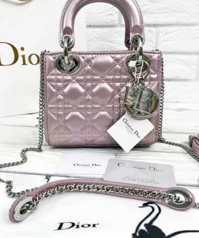 Сумка Lady Dior Mini With Chain Pink Pearl