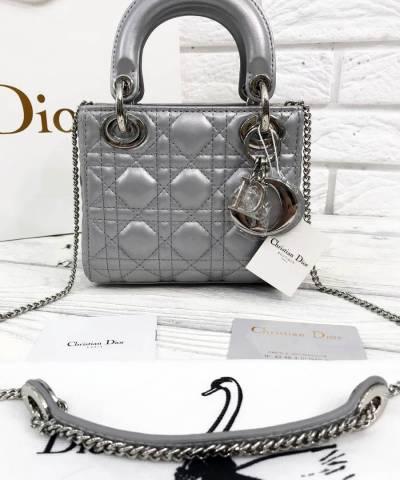 Сумка Lady Dior Mini With Chain Metallic