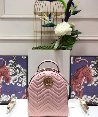 Рюкзак Gucci GG Marmont Quilted Leather Backpack Pink