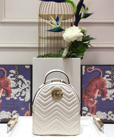 Рюкзак Gucci GG Marmont Quilted Leather Backpack White