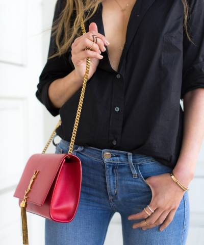 Клатч YSL Saint Laurent Tassel Medium Red