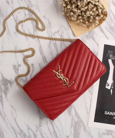 Клатч YSL Envelope Chain Wallet Red