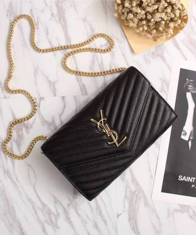 Клатч YSL Envelope Chain Wallet Black