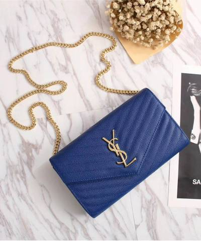 Клатч YSL Envelope Chain Wallet Blue