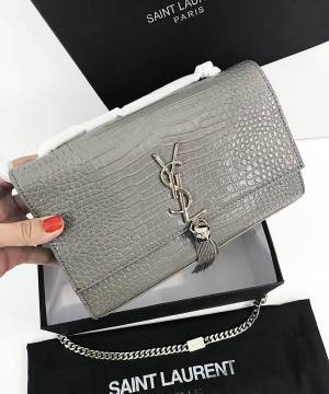 Клатч YSL Saint Laurent Tassel Crocodile Grey