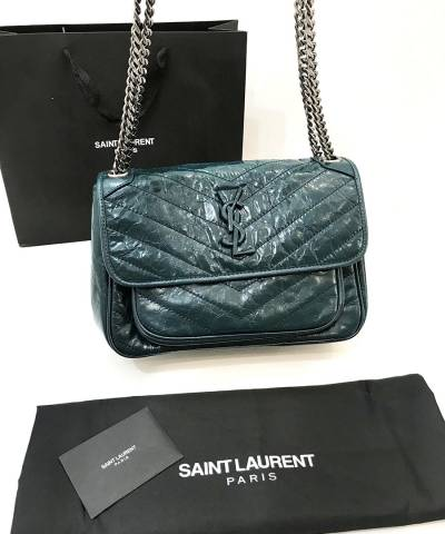 Сумка Saint Laurent Niki Medium Green Leather Shoulder Bag