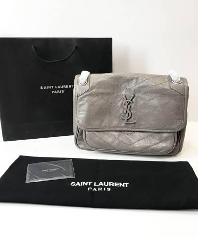 Сумка Saint Laurent Niki Medium Grey Leather Shoulder Bag
