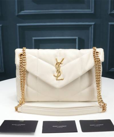 Сумка YSL Loulou Puffer Small Shoulder Bag White