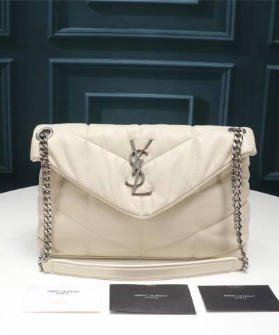 Сумка YSL Loulou Puffer Small Shoulder Bag Crema Soft