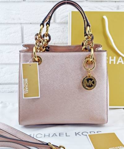 Сумка Michael Kors Cynthia Small Pink Gold