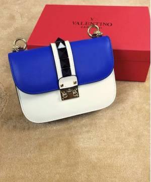 Сумка Valentino Rockstud Lock Blue and White