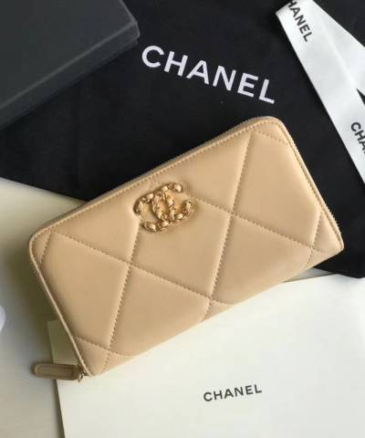 Кошелек Сhan*l 19 Flap Long Flap Wallet Beige