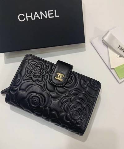 Кошелек Ch*nel Camellia Black Embossed French Wallet