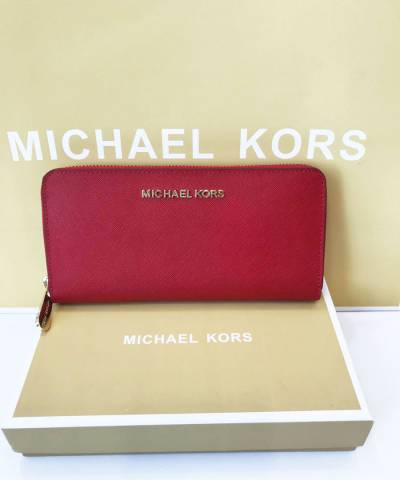 Кошелек Michael Kors Jet Set Travel Saffiano Leather Continental Wallet Red