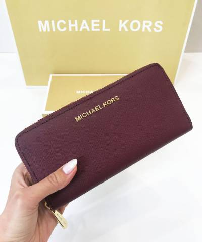 Кошелек Michael Kors Jet Set Travel Saffiano Leather Continental Wallet Plum