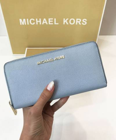 Кошелек Michael Kors Jet Set Travel Saffiano Continental Pale Blue