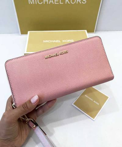 Кошелек Michael Kors Jet Set Travel Continental Wristlet Pale Pink